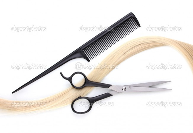 depositphotos 8931322-Shiny-blond-hair-with-hair-cutting-shears-and-comb-isolated-on-white